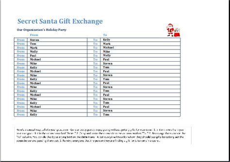 Secret Santa Gift Exchange Template Word Excel Templates Secret Santa List Template