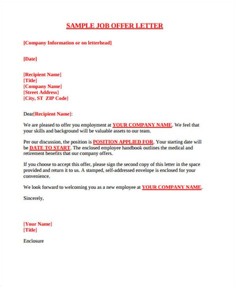 Executive Offer Letter Template by Offer Letter Templates Sles Word Excel Exles