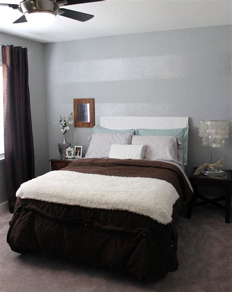 grey tone bedroom tone on tone striped accent wall mrs and the misc