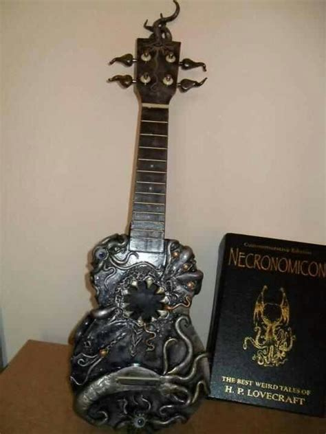 guitar home decor h p lovecraft necronomicon guitar home decor pinterest