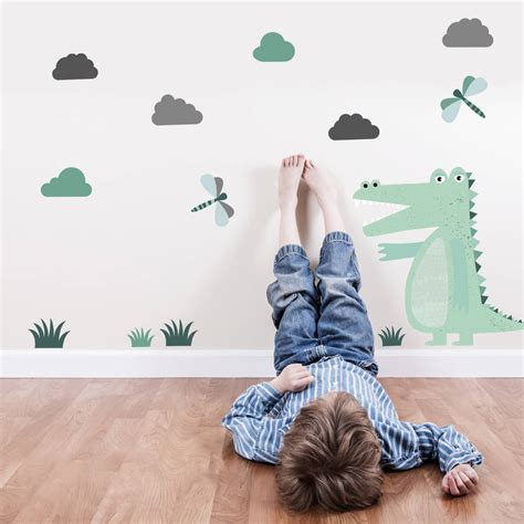 Reusable Wall Stickers children s crocodile reusable wall stickers by snuggledust