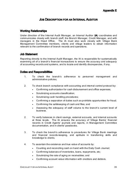 Auditor Duties by Checklist Audit