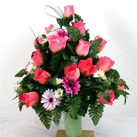 cemetery vase flower arrangement featuring by