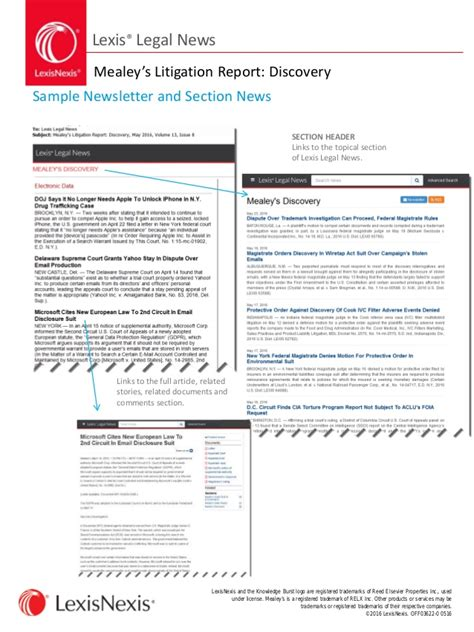 lexis news mealey s litigation report discovery