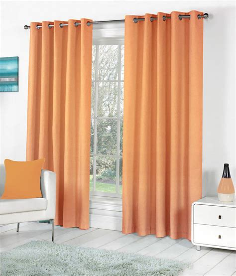 solid orange curtains pindia set of 2 door eyelet curtains solid orange buy
