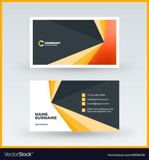 Business Card Sided Template Free by Sided Horizontal Business Card Template Vector Image
