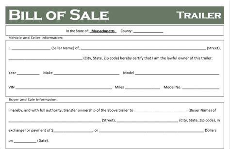 Free Massachusetts Trailer Bill Of Sale Template Off Road Freedom Bill Of Sale Template Ma