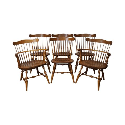 Solid Maple Dining Chairs Ethan Allen Nutmeg Solid Maple Style Dining Chairs Set Of 6 Chairish