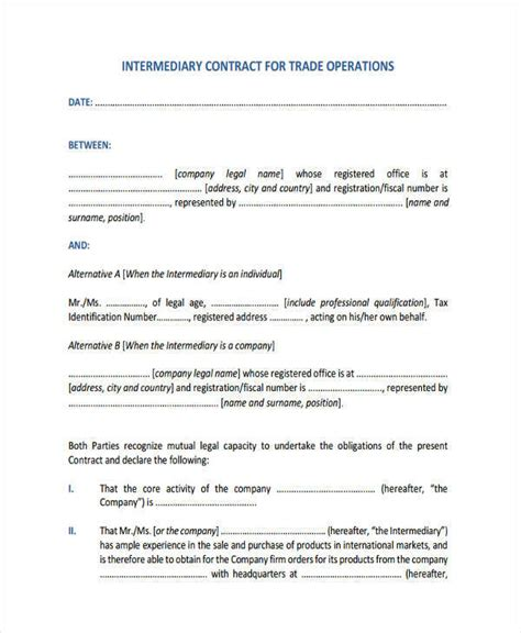 operations contract samples templates