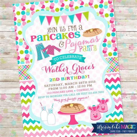 Pancakes And Pajamas Party Pancakes Pjs Birthday Party Pancakes And Pajamas Invitation Template