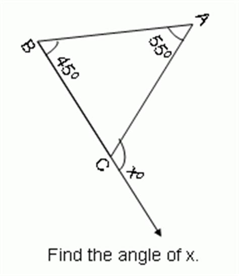 Exterior And Interior Angles Of A Triangle Worksheet by Theorem Exterior Angle Theorem Of A Triangle Geometry Kwiznet Math Science