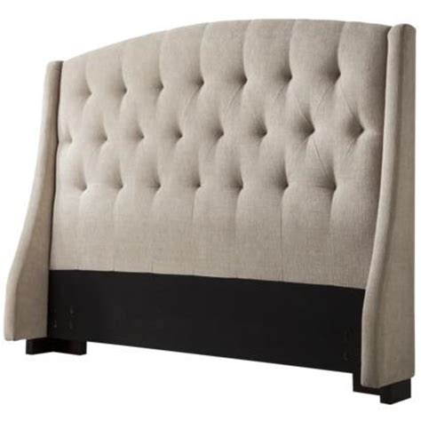 tufted winged headboard tan tufted wingback headboard full queen target