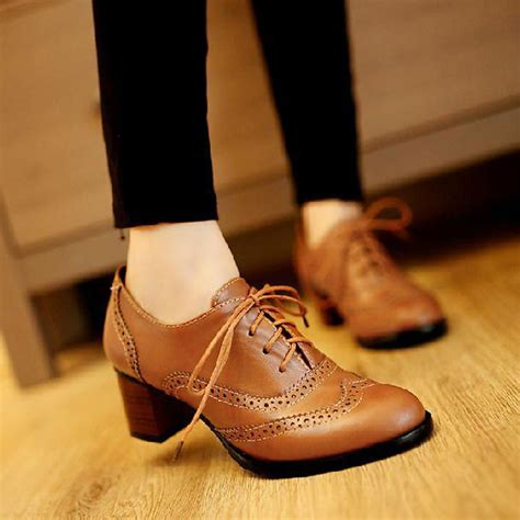 oxford shoes with heel autumn vintage oxford shoes for black pointed toe