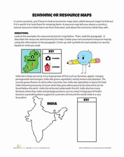 4th grade geography worksheets resource map worksheet education