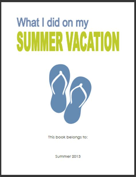 printable summer journal pages 6 best images of printable vacation journals for students