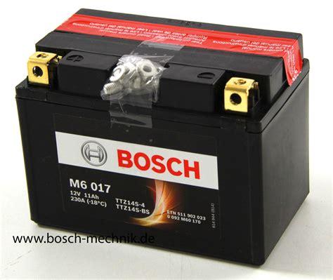 Motorrad Batterie Bosch by Motorradbatterie Bosch M6 Agm 11ah 0092m60170 Incl S 228 Urepack