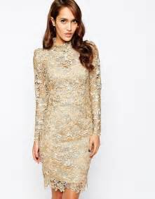 forever unique forever unique lace pencil dress with high neck at asos
