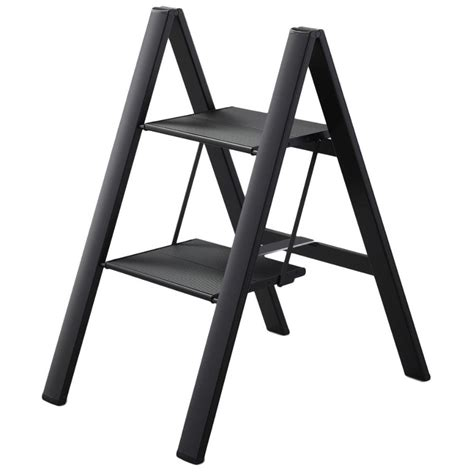 ultraslim slim profile folding step stool black