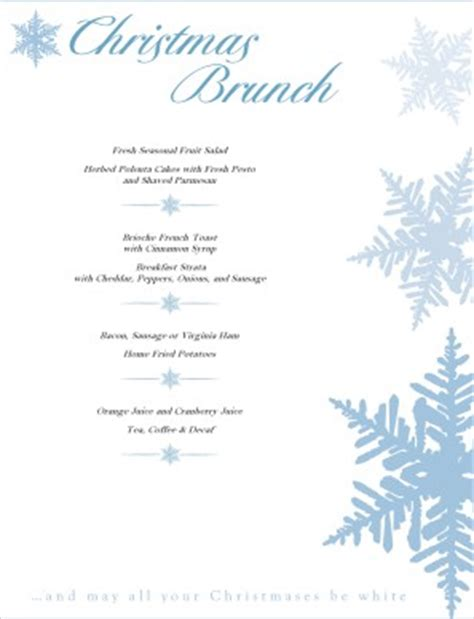 christmas brunch menu christmas menus