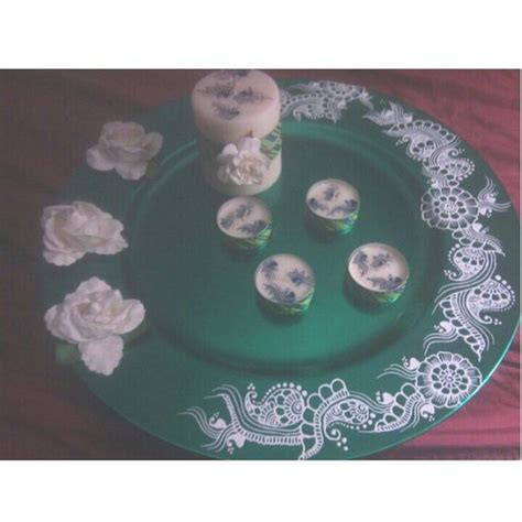 henna design plate henna white roses and charger plates on pinterest