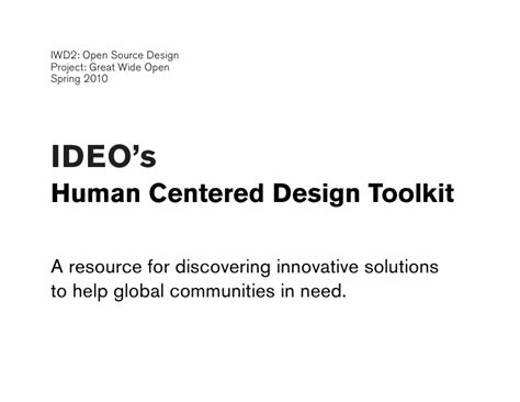 Human Centered Design Mba Program by Ideo Human Centered Design Toolkit