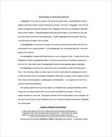 biography report template sle biography report templates 7 free documents
