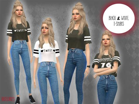T Shirt Simms White irisflor123 s black and white t shirts sims 4 updates