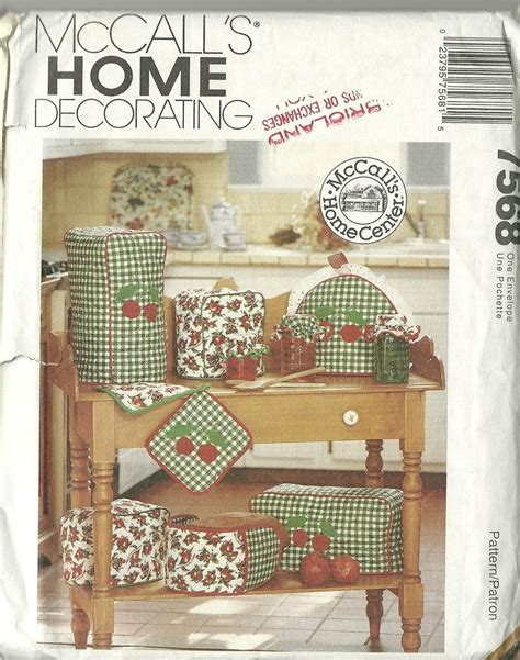 home decor sewing mccall s sewing pattern 7568 home decorating kitchen essentials covers new uncut home decor