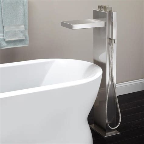waterfall faucets for tubs bathroom grotto freestanding thermostatic waterfall tub faucet
