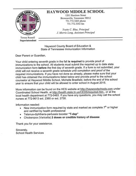 Letter For Vaccine Immunizations Letter Haywood County Schools
