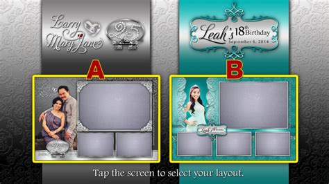 layout design for 18th birthday double celebration with 2 photo booth layouts