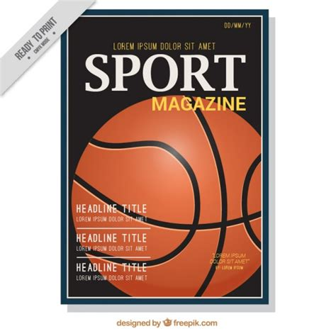 sport magazine cover of basketball vector premium download