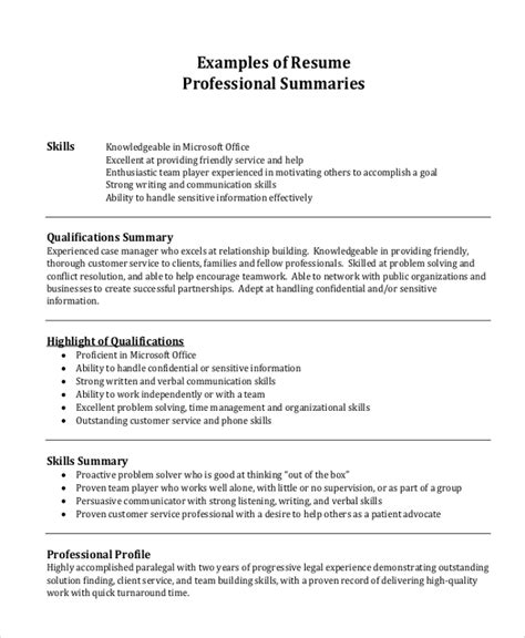 professional summary exle for resume professional resume exle 7 sles in pdf