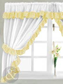 Yellow Kitchen Curtains Valances Gingham Check Yellow White Kitchen Curtain Curtains Uk
