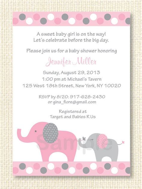 Baby Girl Elephant Shower Invitations Theruntime Com Elephant Baby Shower Invitations Templates