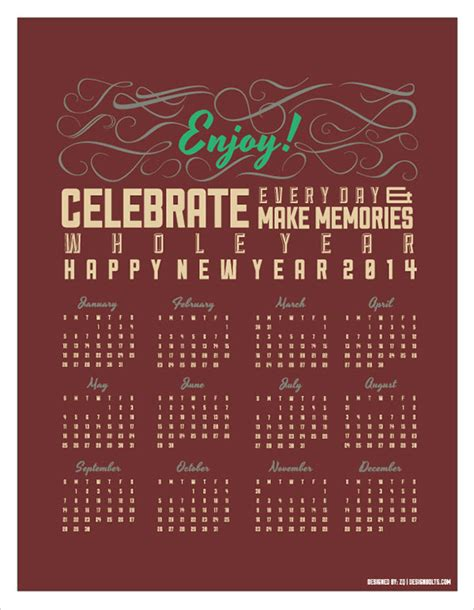 calendar design ai free vector retro printable calendar 2014 ai eps
