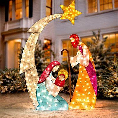 3 pc holographic lighted christmas outdoor nativity scene set outdoor nativity sets