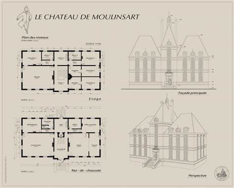 Chateau Plans by Les Aventures De Tintin Plans Du Ch 226 Teau