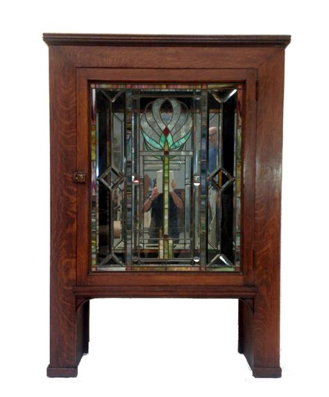 Door Store Furniture by Antique Craftsman Cabinet With Stained Glass Door