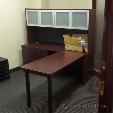 desk with overhead storage mahogany wide pedestal l suite desk with overhead storage