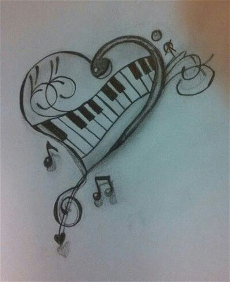 heartbeat piano tattoo heart music notes piano drawing crafts pinterest