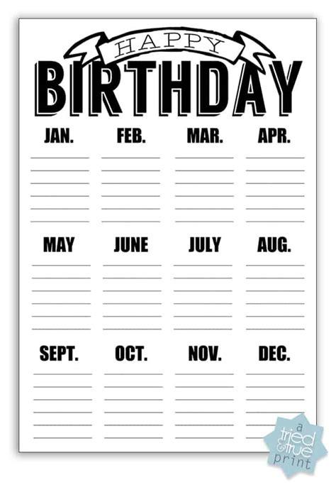 birthday calendar template free download easy chalkboard birthday calendar tried amp true
