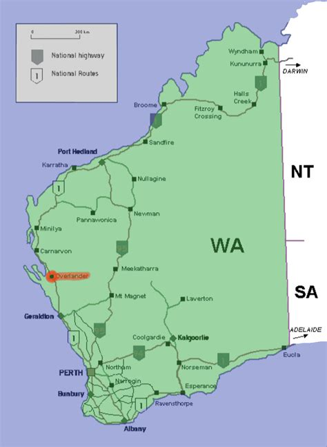map western australia overlander roadhouse