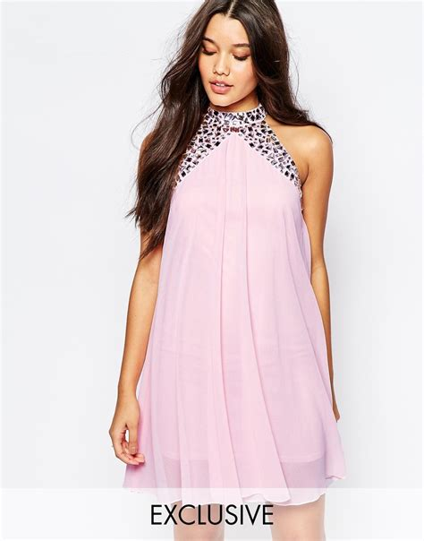 Lipsy Embellished High Neck Babydoll Swing Dress In Pink