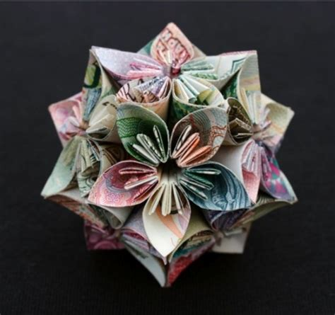 Origami Money Flower - geometric origami flower money flowers