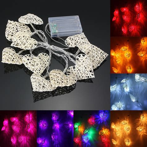 led string lights for bedroom 10 led rattan heart string fairy lights l party home