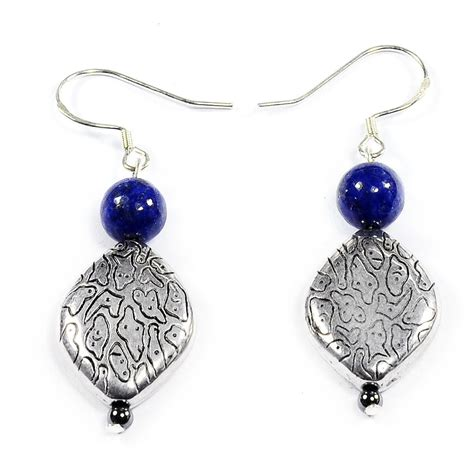 Handmade Silver Necklaces Uk - lapis lazuli 925 sterling silver earrings handmade