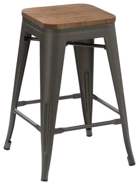 Handmade Wooden Bar Stools - metal counter stools with handmade wooden top set of 4