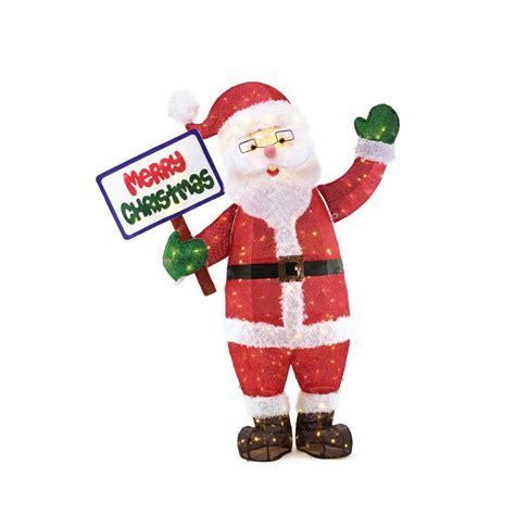 home accents holiday   led tinsel santa  sign