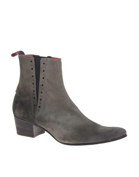 jeffery west black line suede cuban heel chelsea boots in
